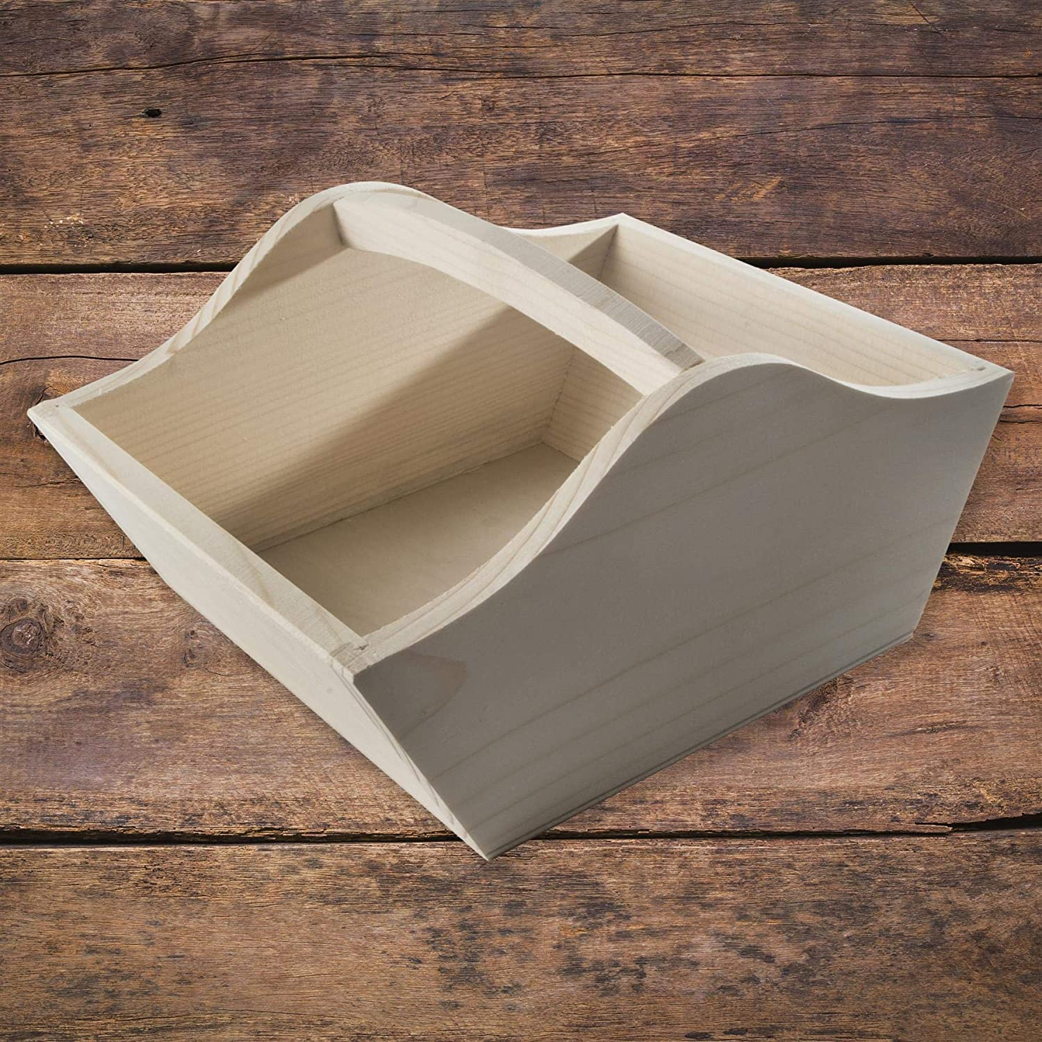 WooDeeDoo Plain Wooden Basket Carrier Trug 17 x 14 x 10 cm Pine Humper Easter Decorations Unpainted Unfinished Pinewood