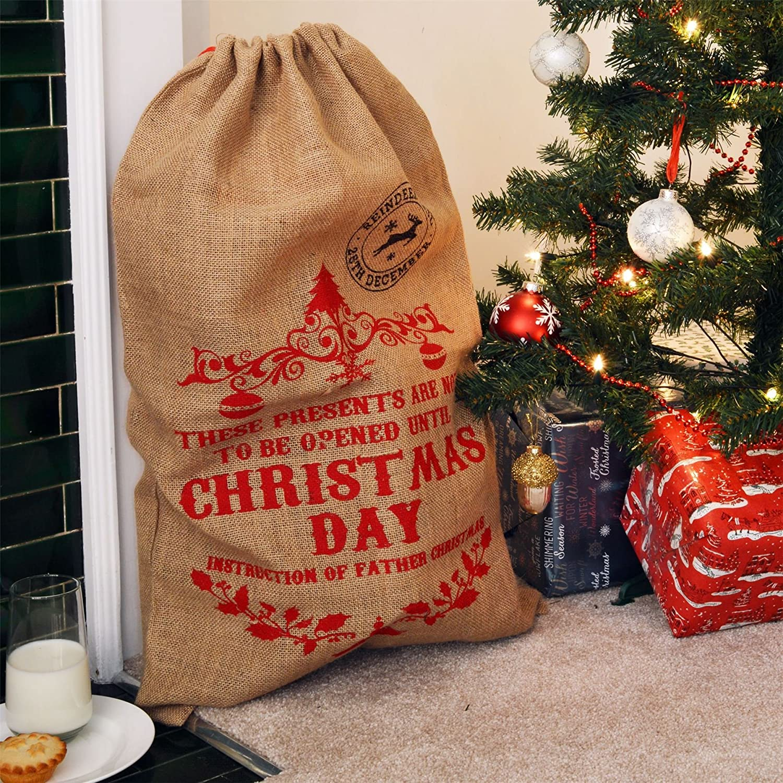 Nicola Spring Sac en Toile de Jute//Chaussette de No/ël /« Not to Be Opened Until Christmas Day /»