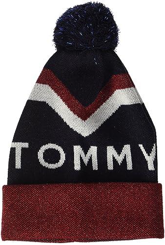 Tommy Hilfiger Chevron POM Beanie, Gorro de Punto para Mujer, Azul (Tommy Navy), Talla única (Talla ...