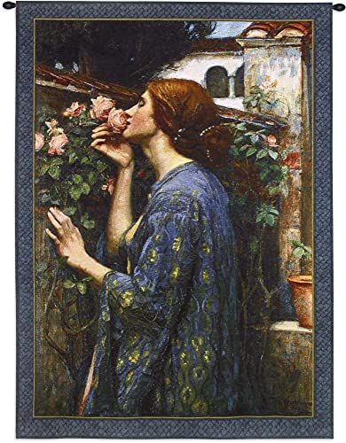 The Soul of The Rose by John William Waterhouse Woven Tapestry Wall Art Hanging Classical Floral Lady with Roses and Lilies 100 Cotton USA Size 43×31