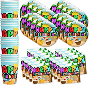 Birthday Galore Retirement Party Supplies Set Plates Napkins Cups Tableware Kit for 16
