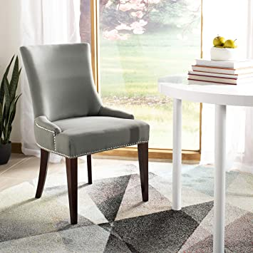 Tremendous Safavieh Mercer Collection Eva Linen Dining Chair With Trim Nail Head Grey Bralicious Painted Fabric Chair Ideas Braliciousco