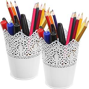 MyGift Set of 2 White Metal Decorative Cut-Out Design Pen & Pencil Holder/Desktop Organizers