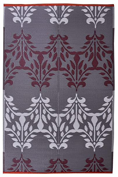 Sapana Mats Luxor - Brown & White Plastic Floor Mat Chatai (4 x 6)