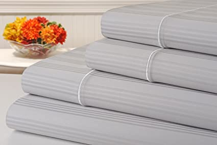 Kathy Ireland 400 Thread Count 100% Cotton Stripe Bed Sheet Set, Queen Size  Bed