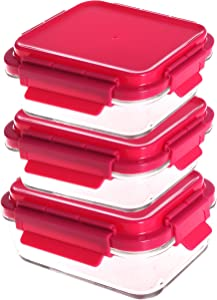 Evolutionize Glass Meal Prep Containers - Food Storage Glass Containers with Snap Lock Lids Meal Prep - Airtight Lunch Containers Portion Control Glass Food Containers - BPA Free Container