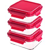Glass Meal Prep Containers - Food Storage Glass Containers with Snap Lock Lids Meal Prep - Airtight Lunch Containers Portion Control Glass Food Containers - BPA Free Container by Evolutionize