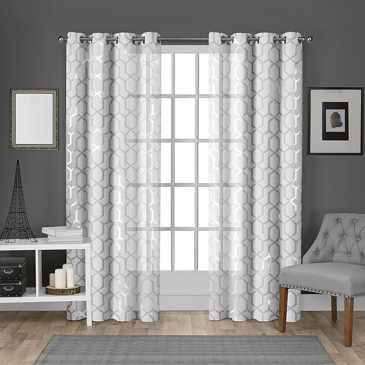 Exclusive Home Curtains Panza Metallic Geometric Print Sheer Grommet Top Curtain Panel Pair, 54x108, Winter Silver, 2 Piece