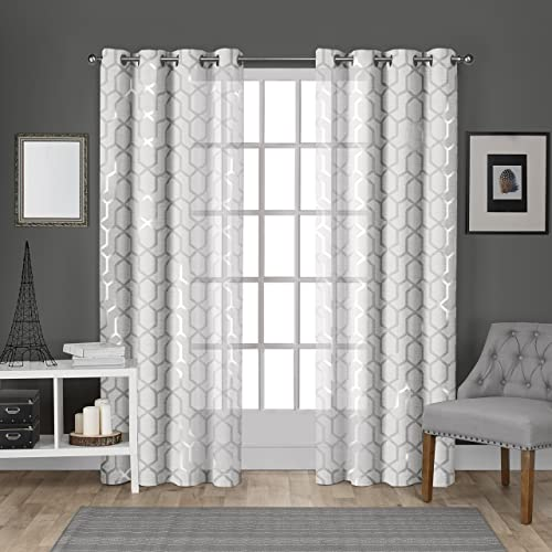 Exclusive Home Curtains Panza Metallic Geometric Print Sheer Grommet Top Curtain Panel Pair, 54×108, Winter Silver, 2 Piece