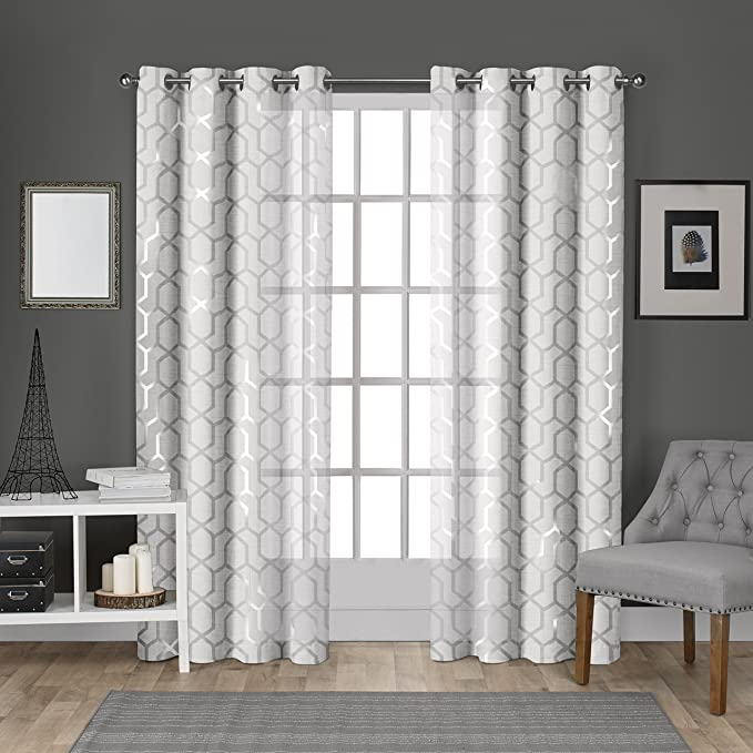 Exclusive Home Curtains Panza Metallic Geometric Print Sheer Grommet Top Curtain Panel Pair 54x96 Winter Silver 2 Piece Home Kitchen