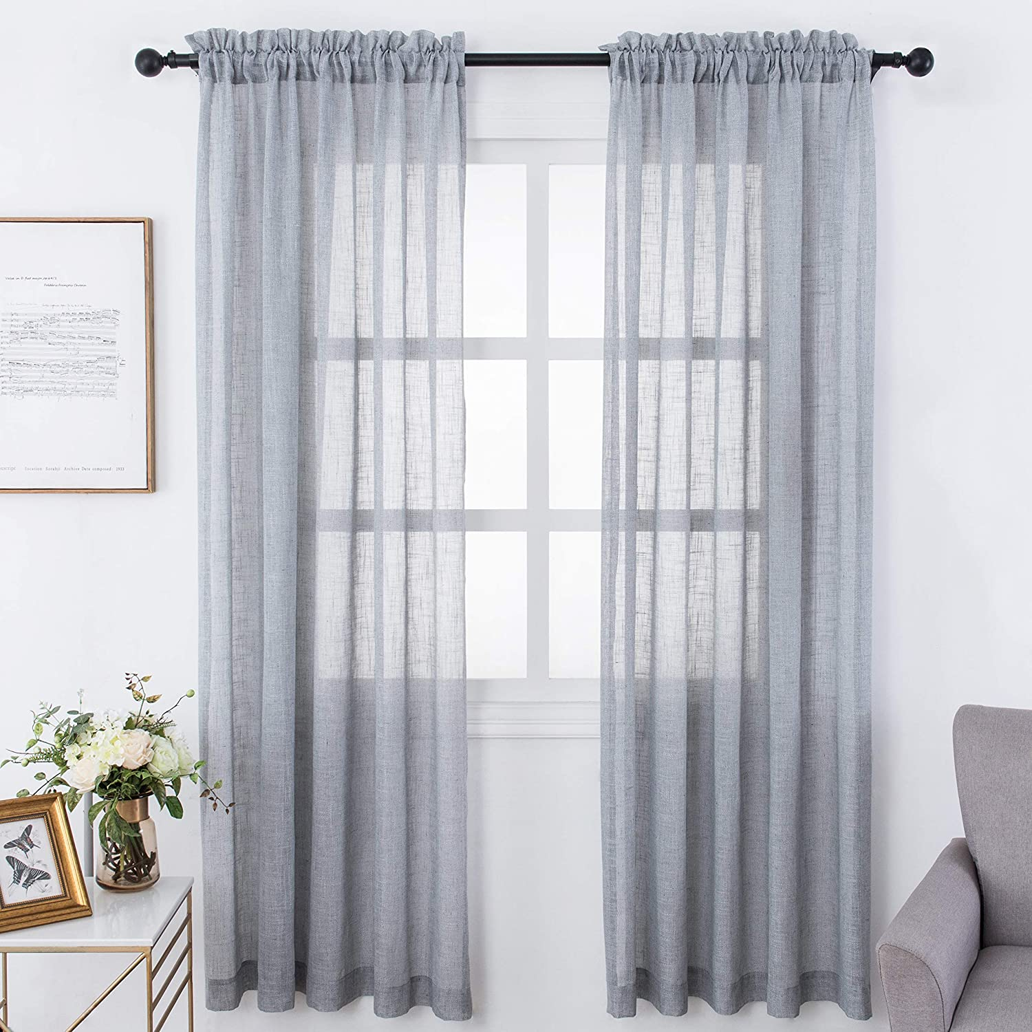 Amazoncom Visiontex 54 X 63 Inch Sheer Curtains Rod Pocket For