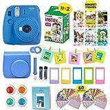 Fujifilm Instax Mini 9 Camera COBALT BLUE Camera + 20 Instant Fuji-Film Shots, Instax Case + 14 PC Instax Accessories Bundle, Fuji Mini 9 Kit Gift, Albums, Lenses, 60 Stickers + Frames by Shutter