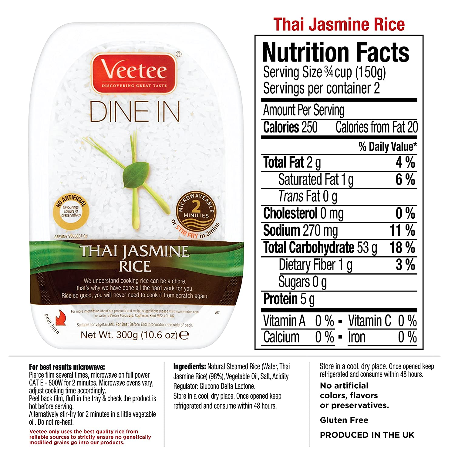 Amazon : Veetee Dine In Rice Jasmine Microwavable Rice, Ready In 2 Minutes  106 Oz