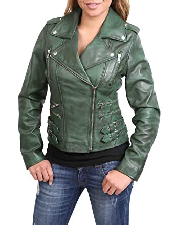 07ba4c7f1bc5 Womens Real Leather Biker Motorcycle Style Fitted Cross Zip Jacket Cara  Green (X-Small