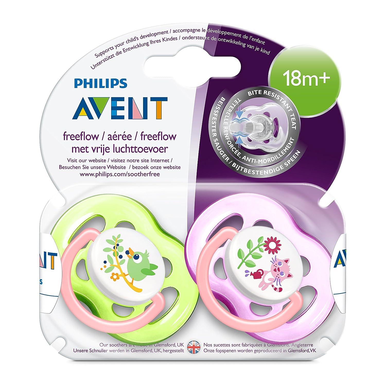 Philips Avent SCF186/25 - Chupete decorado con animales, tetina extra resistente, 18 meses, niña, 2 unidades