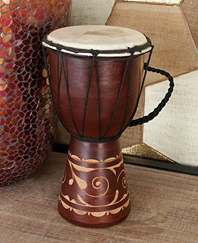 Deco 79 Wood & Leather Djembe