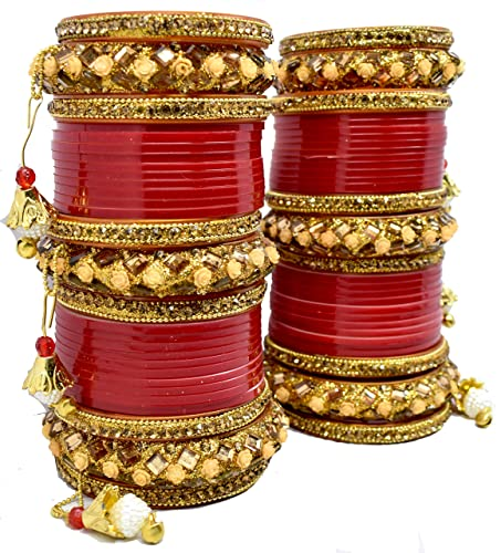 Buy BACHATWALA Red Designer Chuda Set for Bridal Dulhan Engagement Punjabi  Chooda Set - Size 2.4 at Amazon.in