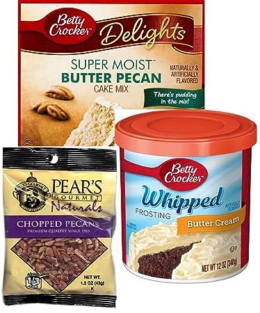 Betty Crocker Super Moist Butter Pecan Cake Mix, Betty Crocker Whipped Buttercream Frosting, and