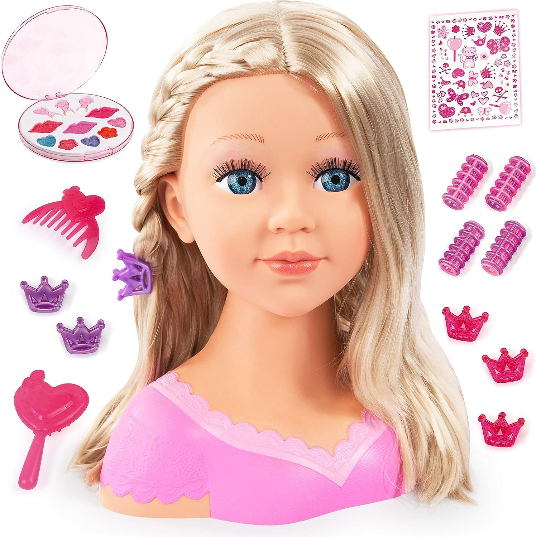 Leic Trucco Parrucchiere Playset 12Pcs Simulazione Cartoon Styling Testa Bambola Acconciatura Giocattolo regalo educativo con luce e suono per ragazze