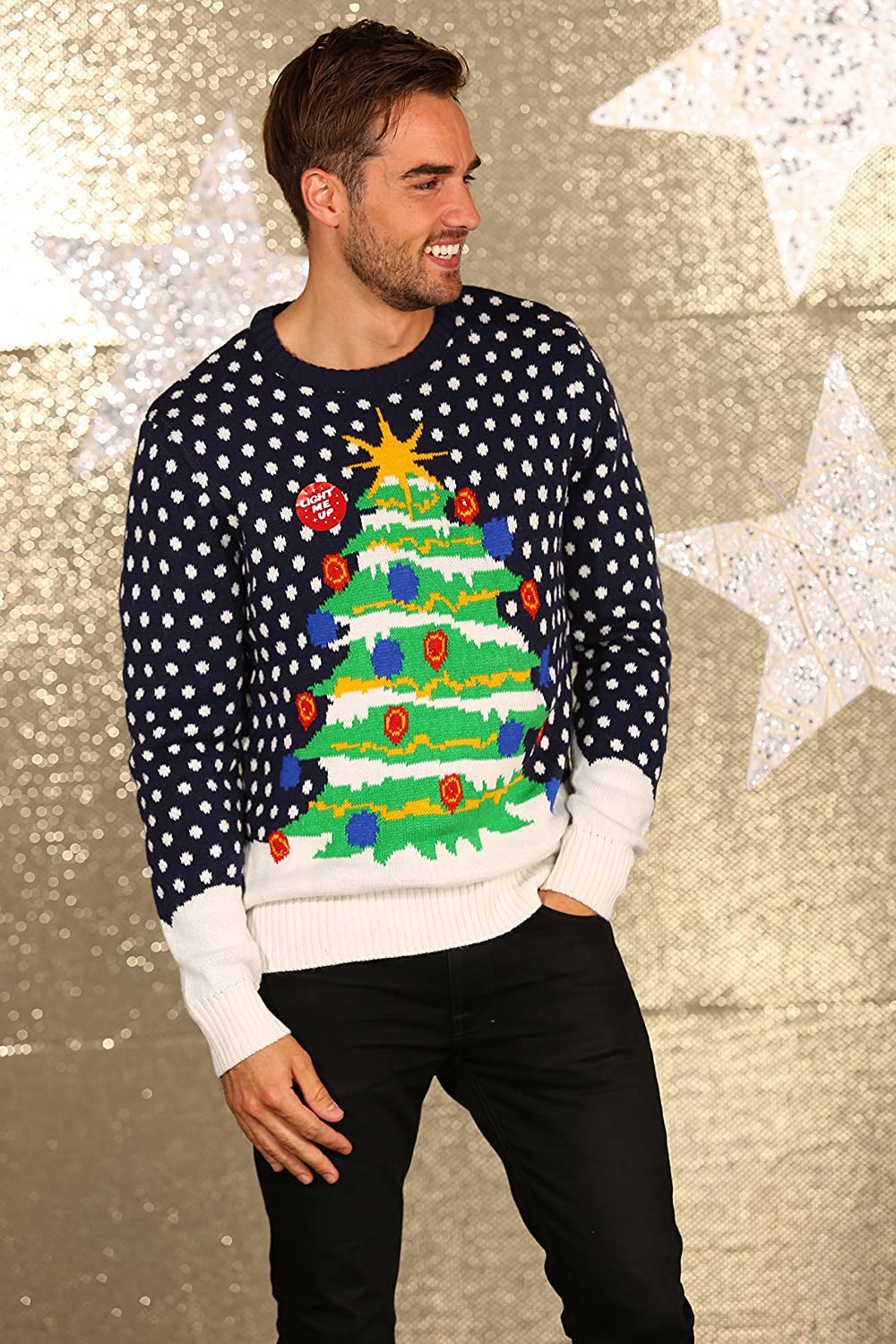 3D Christmas Tree Knitted Jumper With Lights