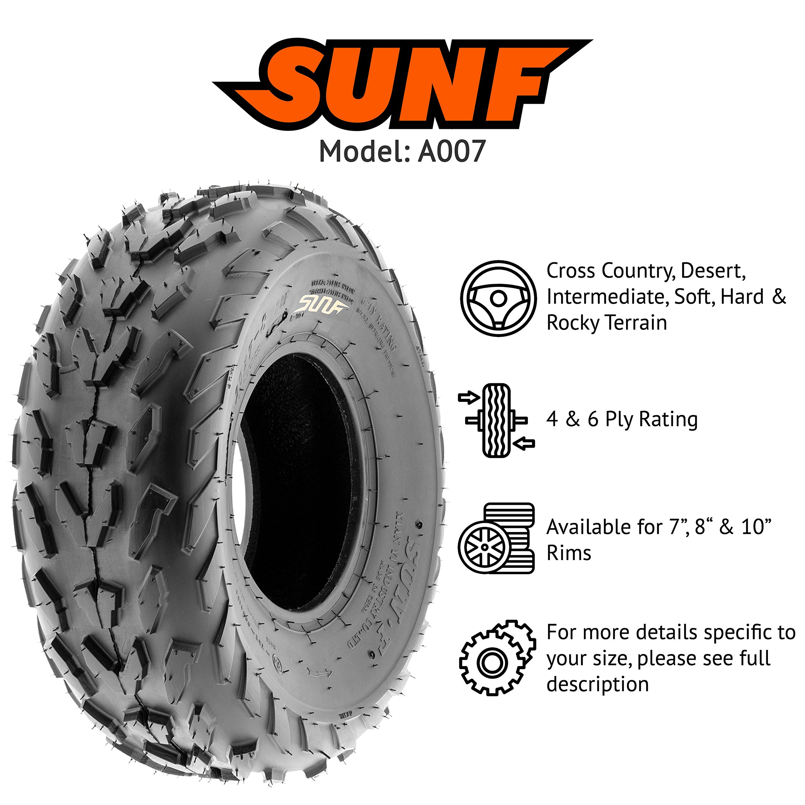 SunF 20x7-8 20x7x8 ATV UTV A/T Quad Race Replacement 6 PR Tubeless Tires A007, [Set of 2] by SunF (Image #2)