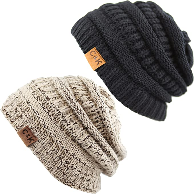 b31786a2 The Hat Depot Exclusive Unisex Chunky Thick Cable Knit Beanie Skull Winter  Hat (2 Tone