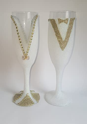 920b1844cdd7 Image Unavailable. Image not available for. Color  His and Hers Glitter Toasting  Glasses - Wedding ...