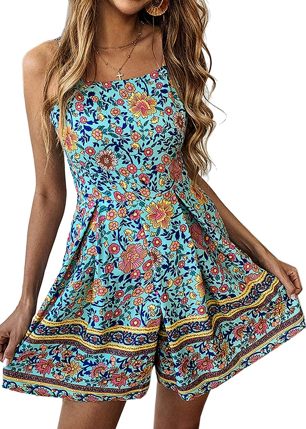 d919f9e3693 Amazon.com  Angashion Women s Romper - Sexy Boho Floral Spaghetti Strap  Pleated Short Jumpsuit Rompers with Belt  Clothing