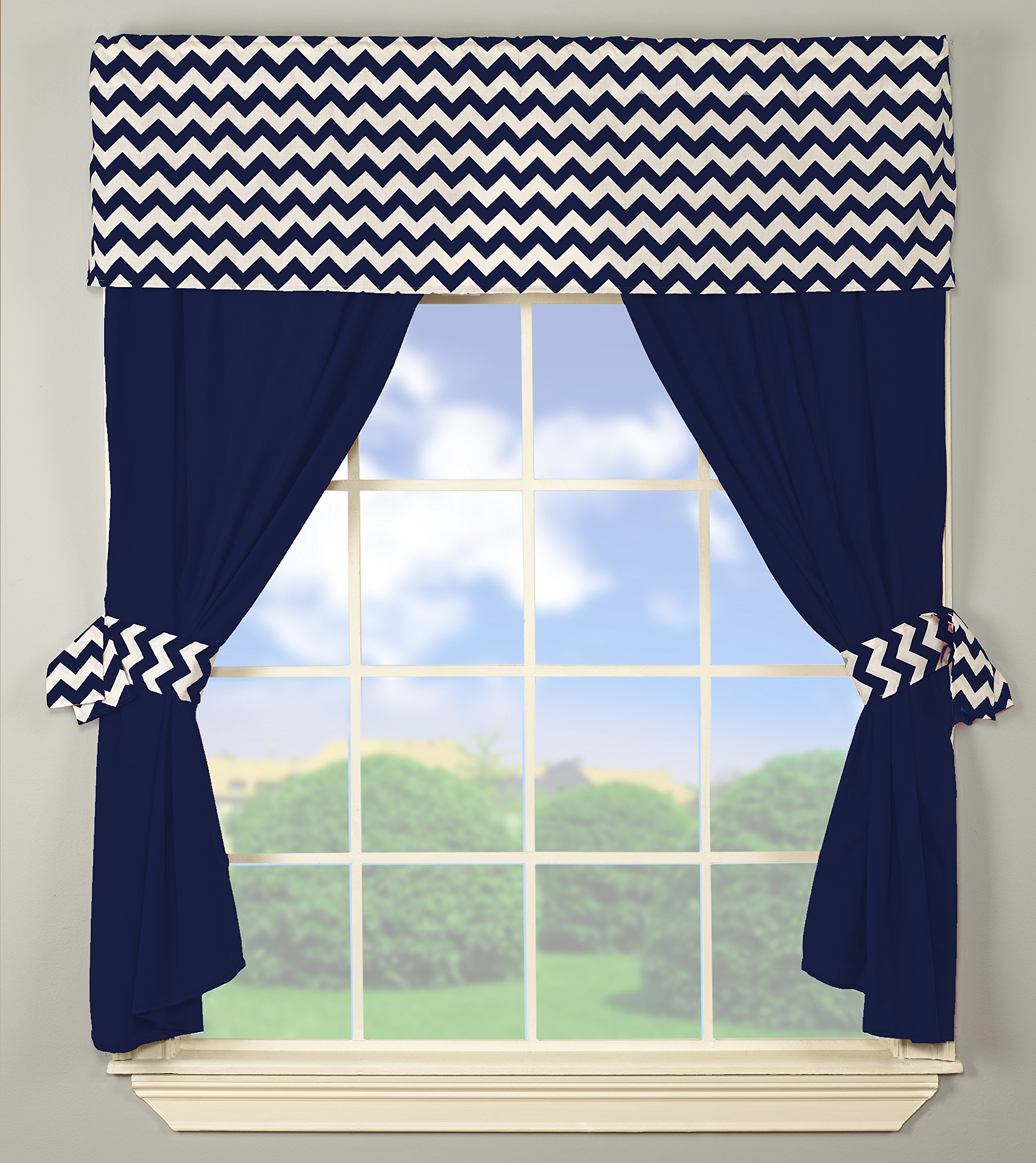 Baby Doll Bedding Chevron Window Valance and Curtain Set, Navy by BabyDoll Bedding