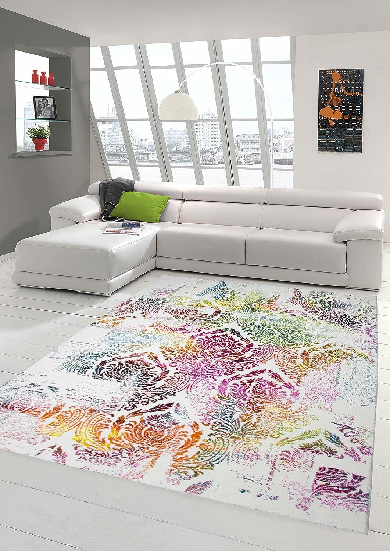 Moderner Teppich Designer Teppich Orientteppich Wohnzimmer Teppich mit Ornamente in Bunt Grün Gelb Türkis Rosa Rot Größe 160x230 cm