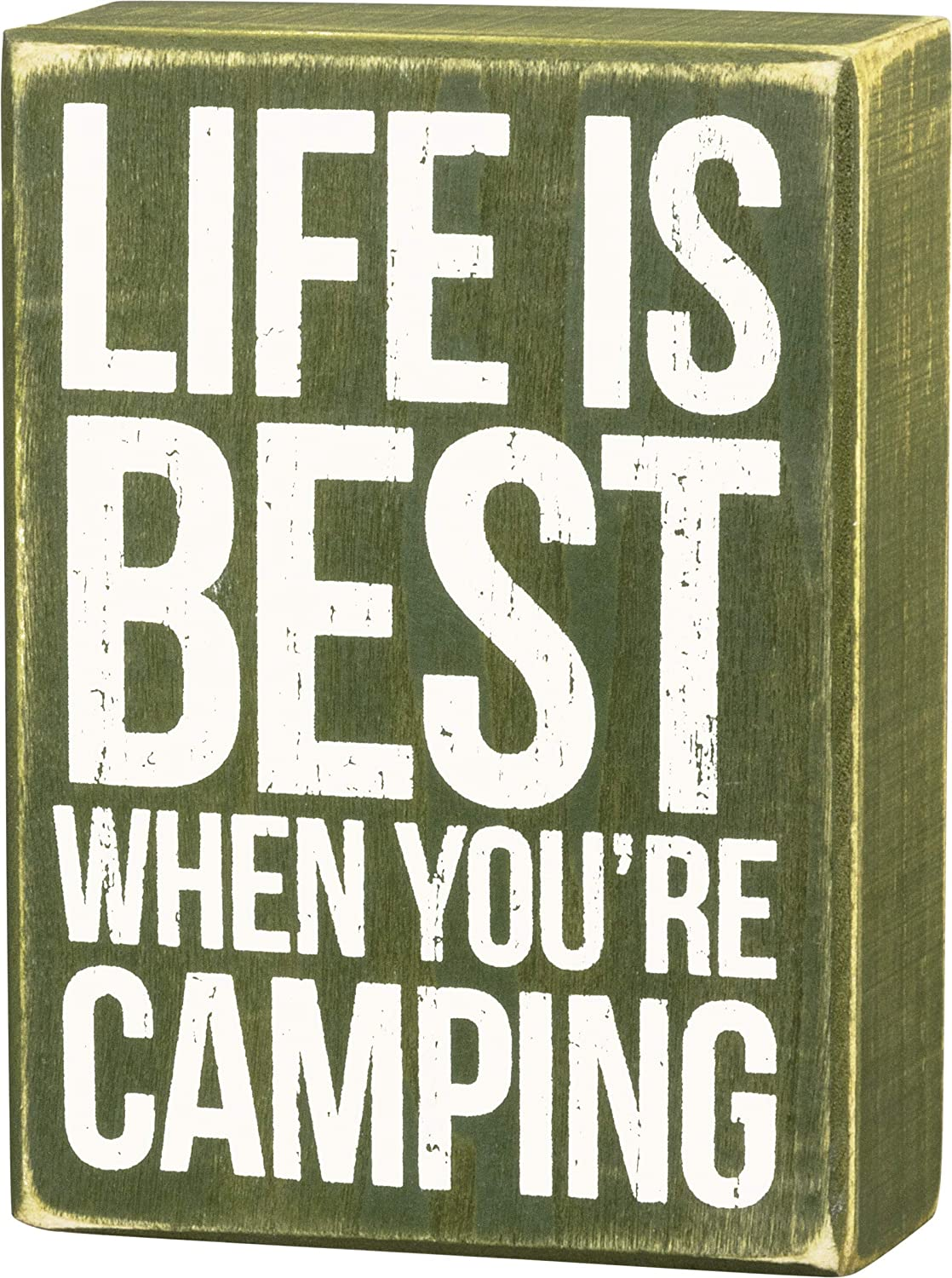 Primitives by Kathy 27370 Olive Green Box Sign, Life is Best When You're Camping