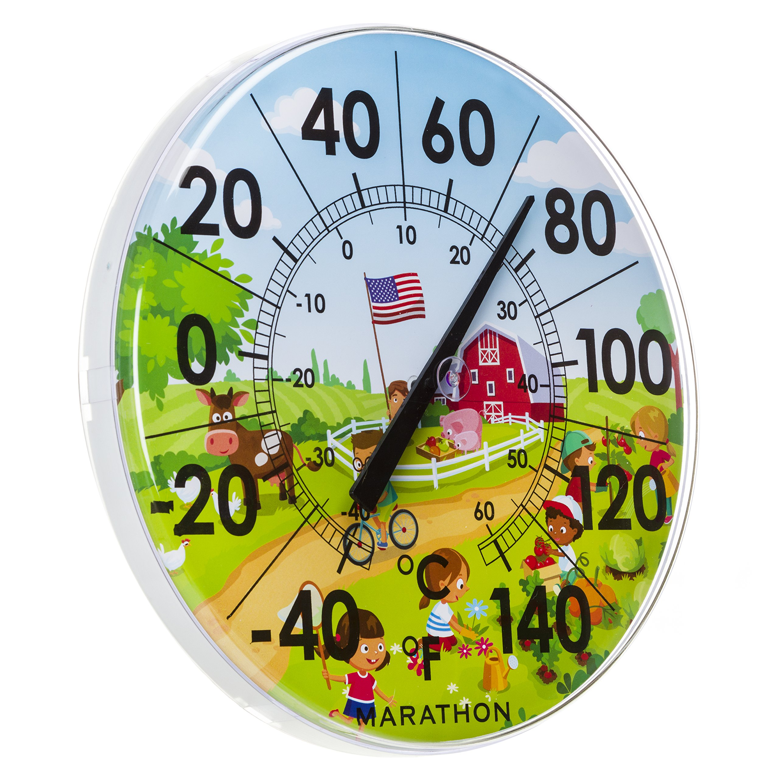 Marathon Housewares BA030002US 12'' Indoor/Outdoor Dial Thermometer- Barn Scene by Marathon (Image #2)