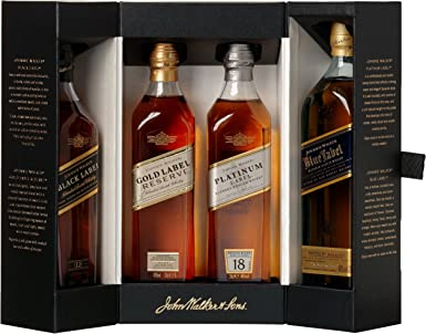 Johnnie Walker Collection Pack Blended Scotch Whisky, 4 x 200 ml ...