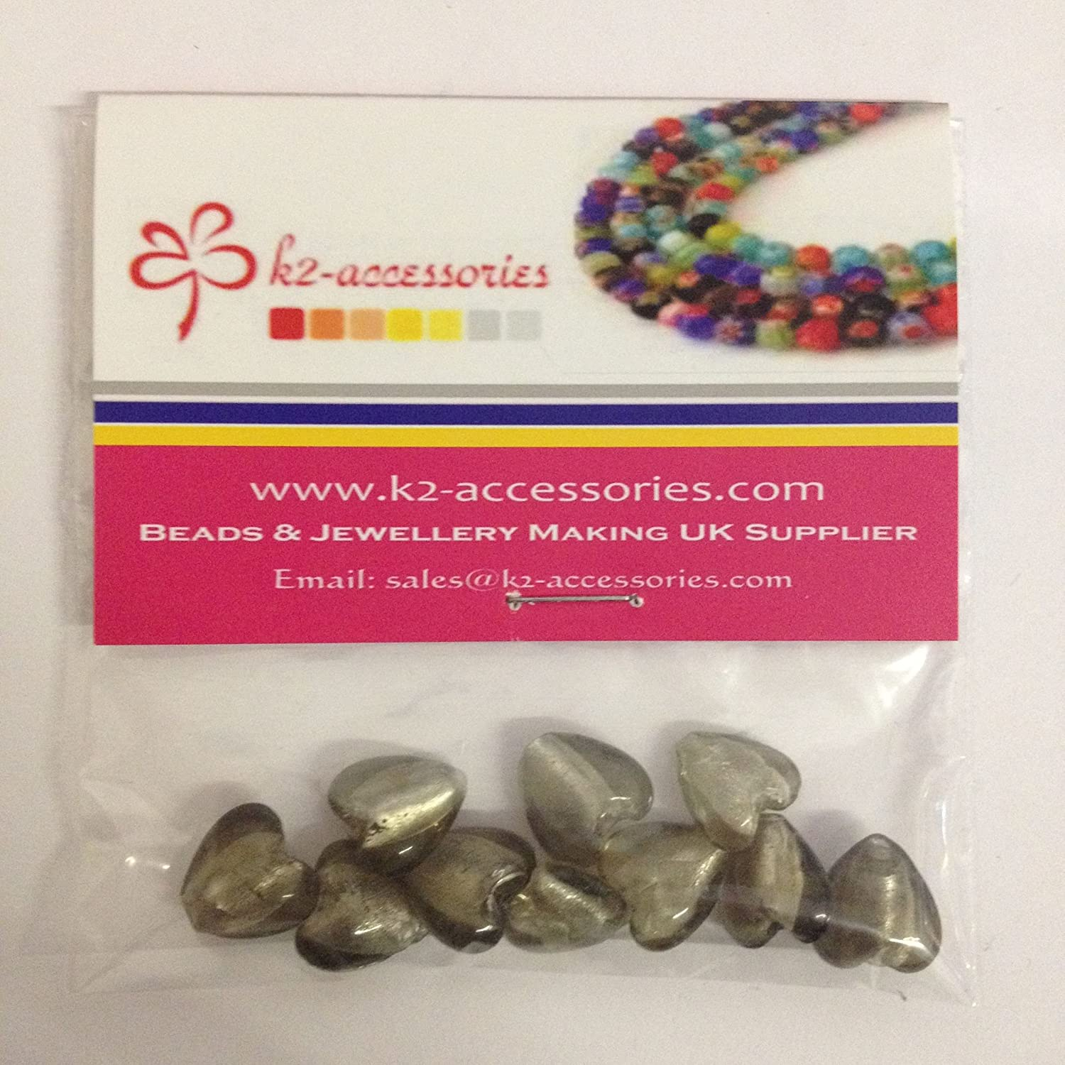 10 pieces 12mm Silver Foil Heart Glass Beads - Grey - A4118 k2-accessories