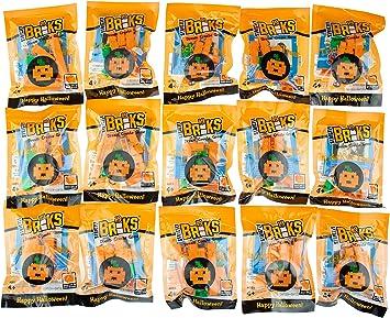 Strictly Briks - Pack de Ladrillos para Construir - La Alternativa Sana a los Caramelos - Regalo para Halloween/Truco o Trato - Calabaza - 15 Paquetes Individuales: Amazon.es: Juguetes y juegos