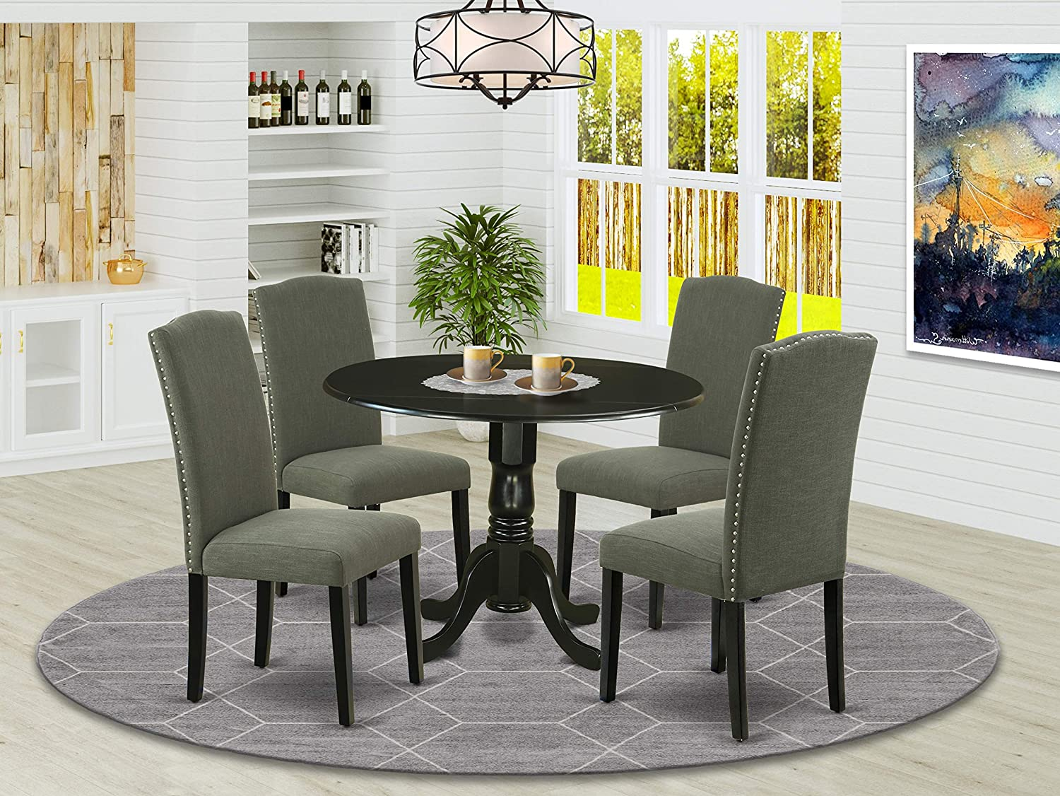 "DLEN5-BLK-20 5Pc Round 42"" Kitchen Table With Two 9-Inch Drop Leaves And Four Parson Chair With Black Leg And Linen Fabric Dark Gotham Grey"
