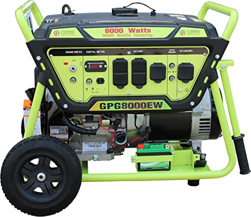 Green-Power America GPG8000EW Pro Series Recoil Electric Start Generator, 8000W