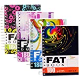 4-Pack Fat Books, 4x5.5-Inch, College Ruled, White, 180 Sheets per Book, Perforated (4-Pack)