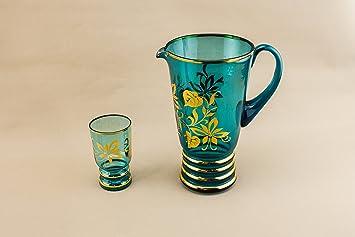 Blau Glas Krug Und 5 Gläser Wasser Limonade Vergoldet Pimms Punch Eggnog  Bis Mitte Des Jahrhunderts
