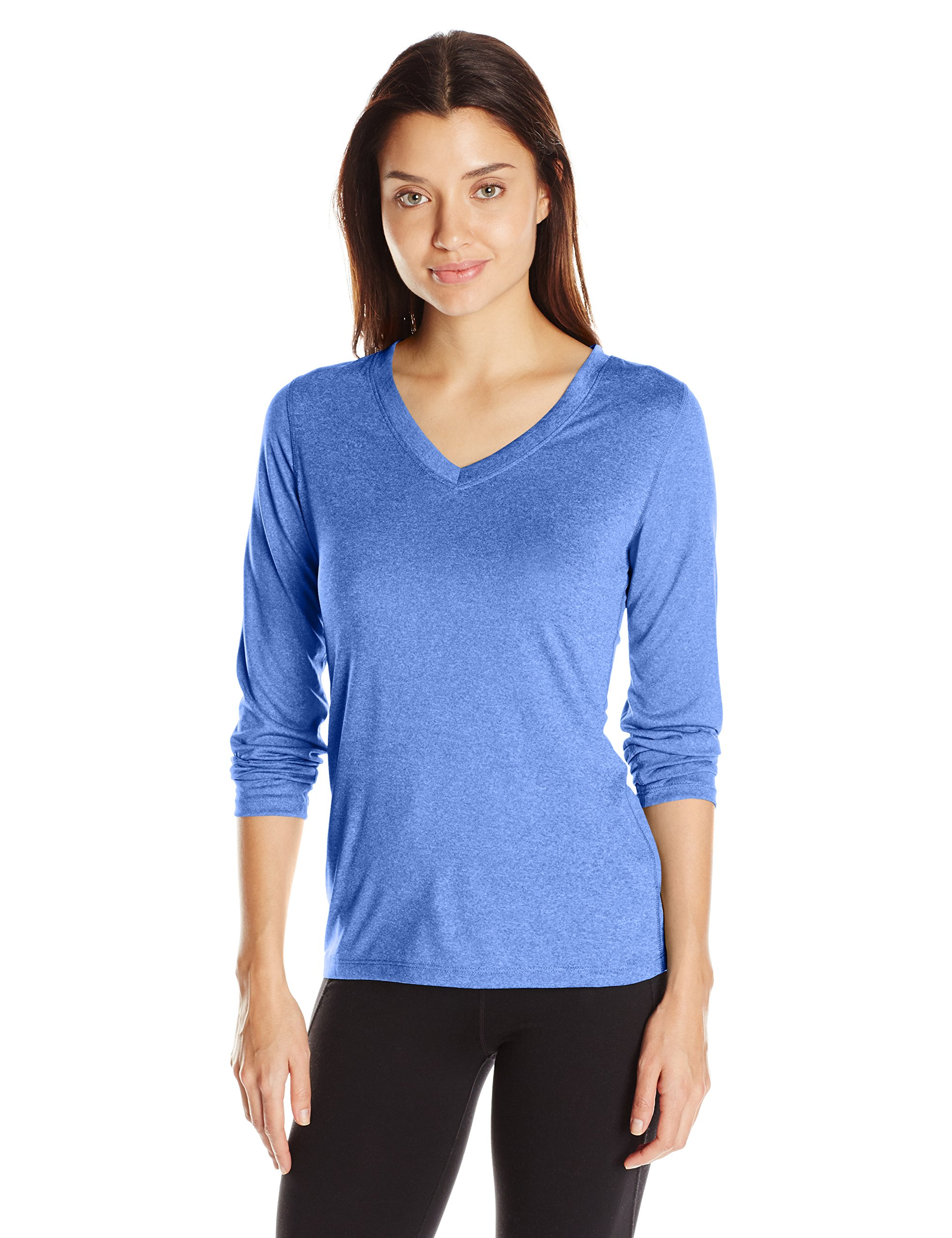 Hanes Women's Sport Cool Dri Performance Long Sleeve V-Neck Tee, Awesome Blue Heather, 2X Large