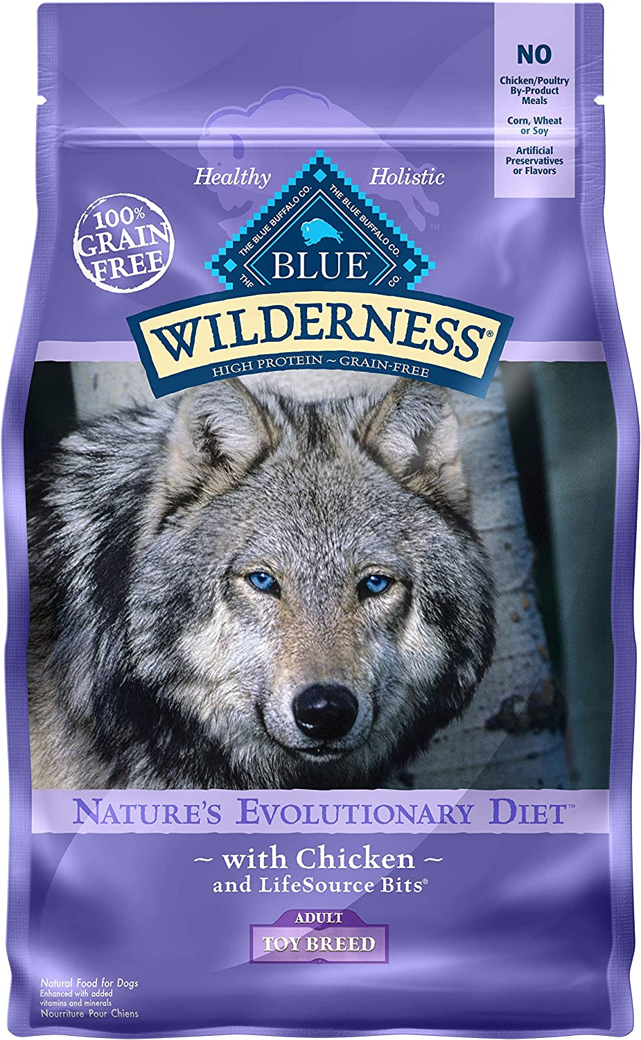 Blue Buffalo Wilderness High Protein, Natural Adult Toy Breed Dry Dog Food, Chicken 4-lb