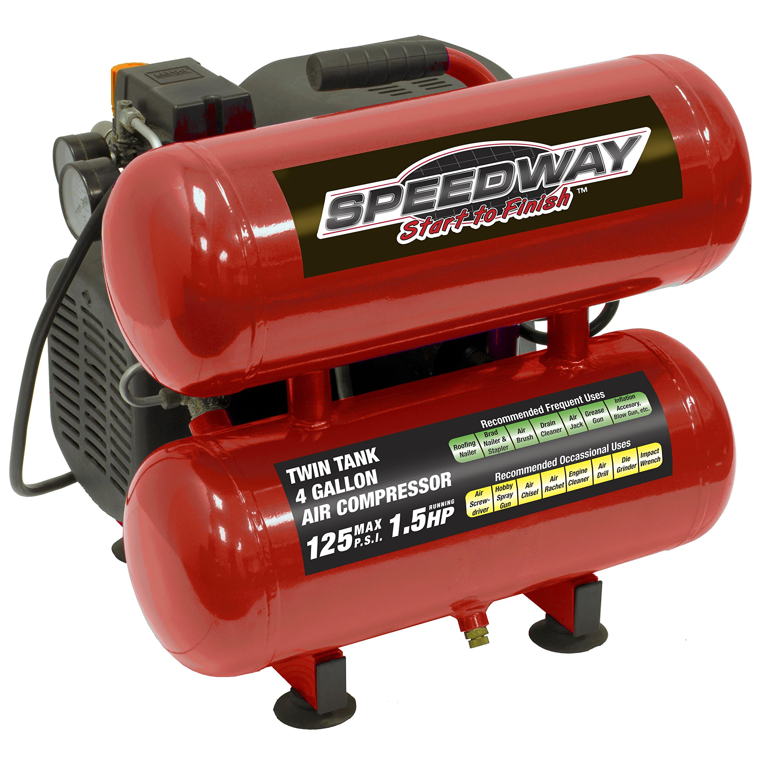 Speedway 73404 Twin Stack Oil Lube Air Compressor, 4 gallon by Speedway