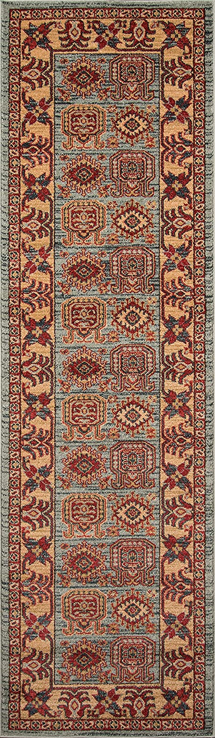 Home Décor Traditional Area Rug Light Blue 23 X 76 Runner Momeni Rugs Ghazngz 06lbl2376 Ghazni Collection Area Rugs Runners Pads