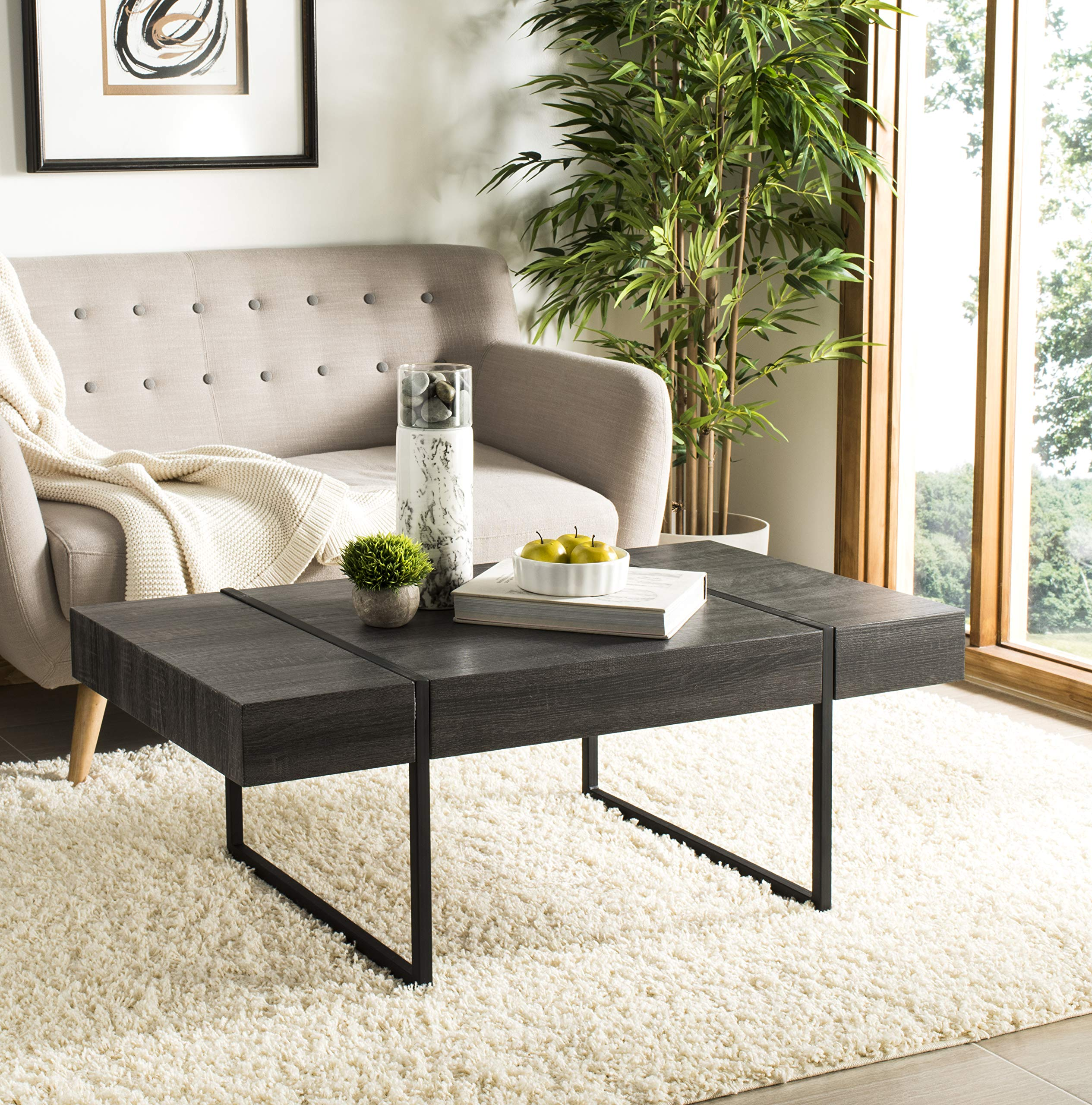 Safavieh Home Collection Tristan Black Rectangular Modern Coffee Table by Safavieh