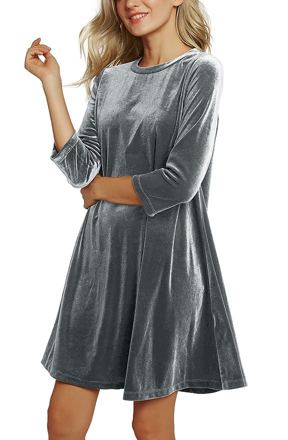 Urban GoCo Mujer Elegante Vestidos de Terciopelo de Brillante Manga 3/4 Vestidos Corto de Cóctel Fiesta: Amazon.es: Ropa y accesorios