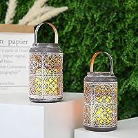 JHY DESIGN set de 2 Linterna con Vela LED ámbar a Pilas y Asa metal Lámpara 17cm lampara exterior Farol de jardín Estilo…