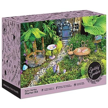 Amazon.com: Spritely Gardens Deluxe Fairy Garden Kit with Fairy ...