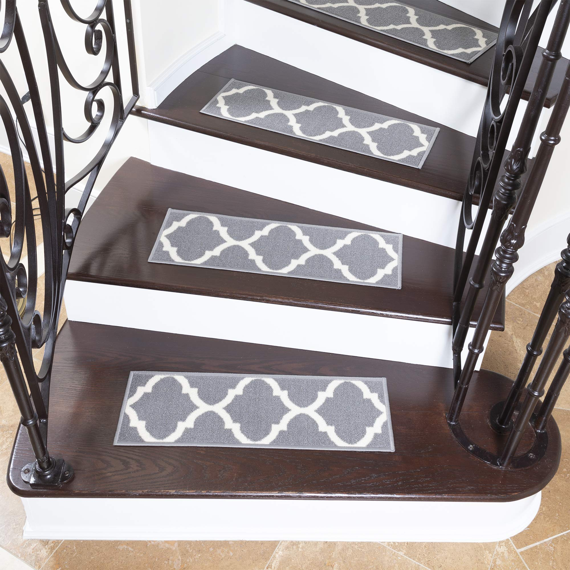 Ottomanson Ottohome Collection Stair Tread, 8.5'' X 26'' Pack of 7, Gray by Ottomanson
