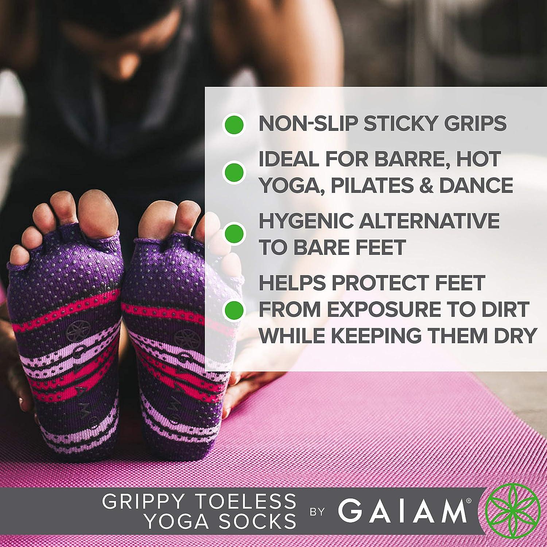 Gaiam Grippy Toeless Yoga Socks Small//Medium Heather Grey