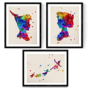 NACNIC Set of 3 Prints for framing Peter Pan Watercolor Style. Posters with Images of Peter Pan, Tinker Bell and her Friends in Size 11'x17'